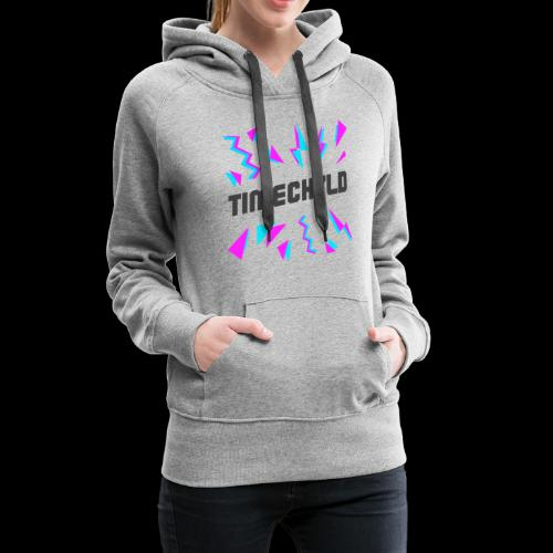 Timechyld Logo with Retro Pattern (Black) - Women's Premium Hoodie