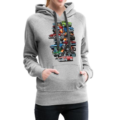Car Madness! Muscle Cars and Hot Rods Cartoon - Women's Premium Hoodie