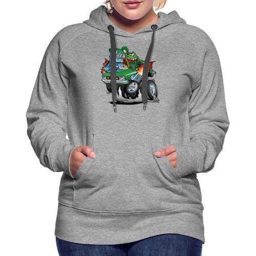 Seventies Green Hot Rod Funny Car Cartoon - Women's Premium Hoodie