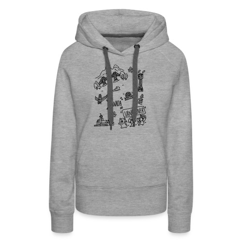 vancouver Canada themed hand drawn cute artwork - Women's Premium Hoodie