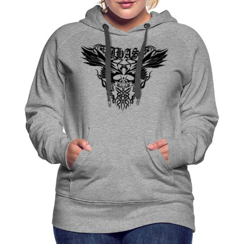 Vintage JHAS Tribal Skull Wings Illustration - Women's Premium Hoodie
