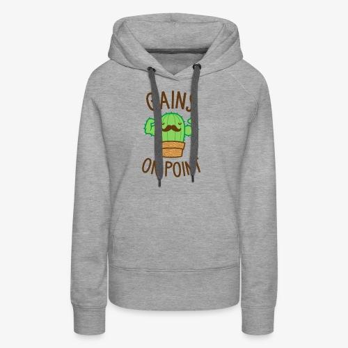 Gains On Point (Cactus Pun) - Women's Premium Hoodie