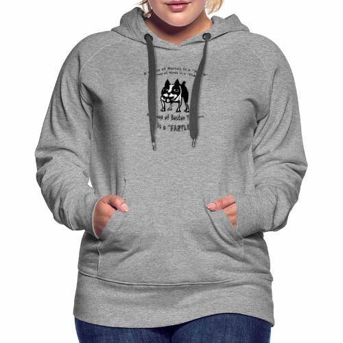 Boston Terrier Fartle - Gray - Women's Premium Hoodie
