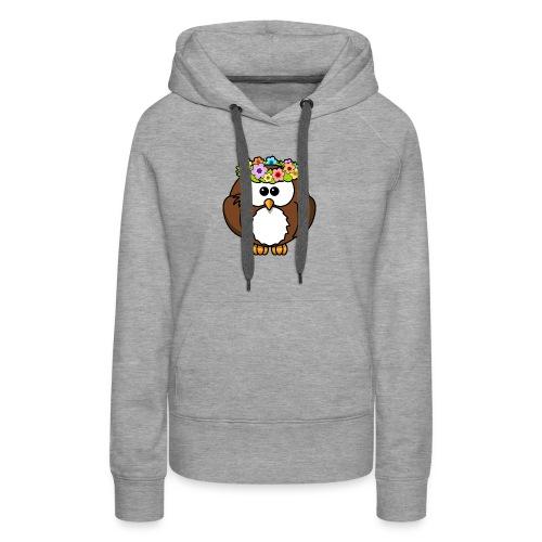 Owl With Flowers On Head T-Shirt - Women's Premium Hoodie