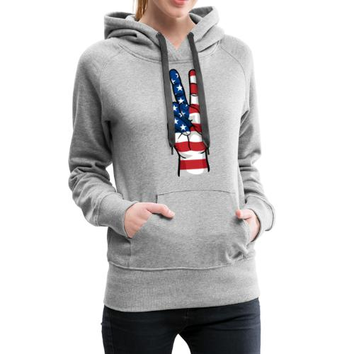 hand peace sign USA T small - Women's Premium Hoodie