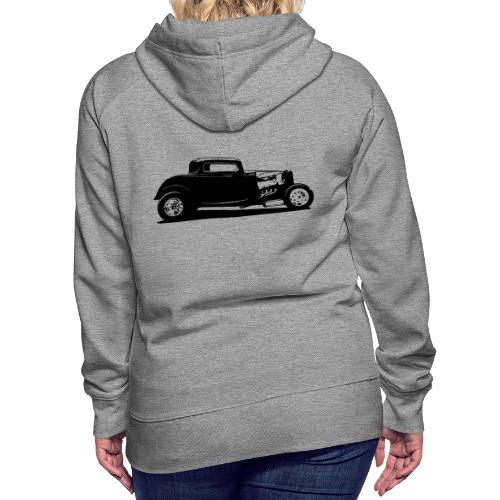 Classic American Thirties Hot Rod Car Silhouette - Women's Premium Hoodie