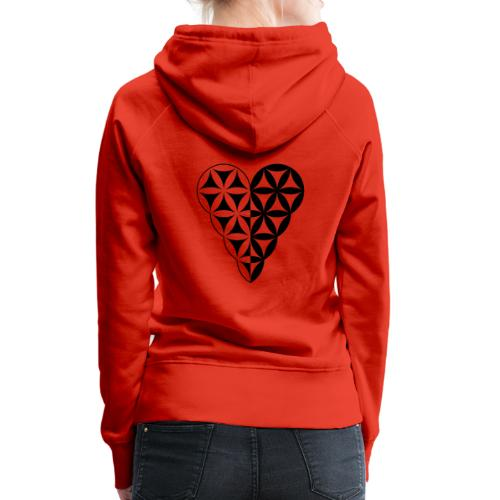 Dual Heart, Male-Female Duality. Vector image. - Women's Premium Hoodie