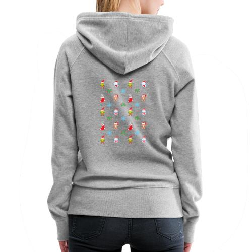 Teddy, mouse elf and snowman Christmas pattern - Women's Premium Hoodie