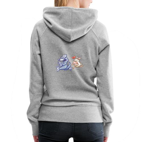 Funny sheep in love running after a terrified wolf - Women's Premium Hoodie