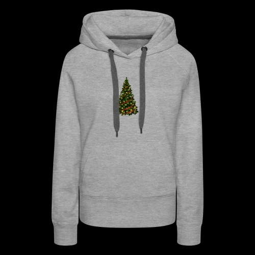 Large Christmas Tree with Red Ribbon - Women's Premium Hoodie