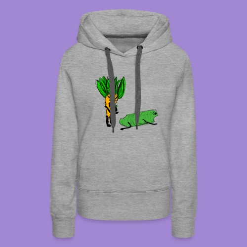 carrot eating a cucumber - Women's Premium Hoodie