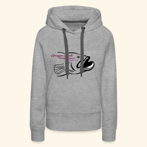 Grouper Cheeks Hand Drawn Logo Pink and Black - Women's Premium Hoodie