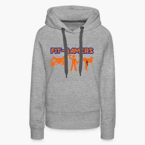 FIT-GAMERS Logo w/ Icons - Women's Premium Hoodie