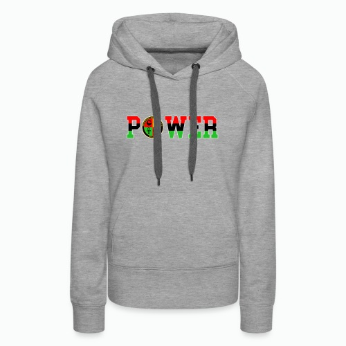 Afrikan Power with Logo and White trim - Women's Premium Hoodie