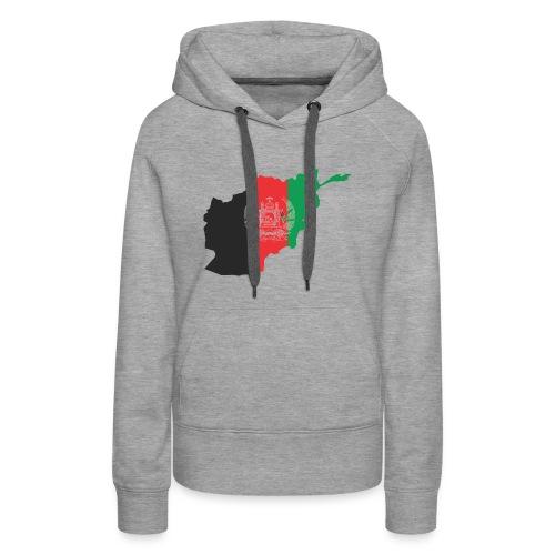 Afghanistan Flag in its Map Shape - Women's Premium Hoodie