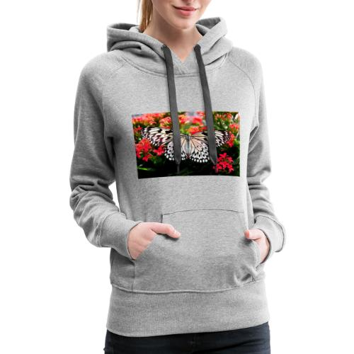 Beautiful butterfly with blooming blossoms - Women's Premium Hoodie