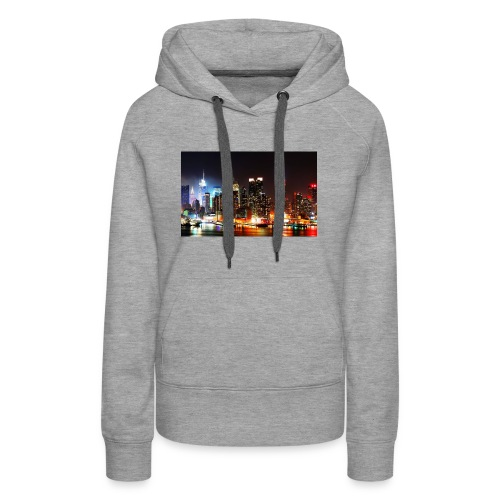 New York City Skyline at Night - Women's Premium Hoodie