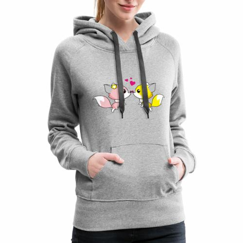 Two cute little foxes kissing and being in love - Women's Premium Hoodie