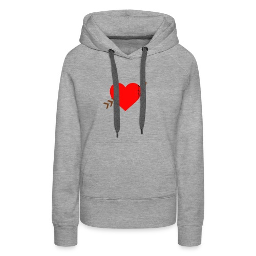 white color arrow shirt crossing a heart - Women's Premium Hoodie