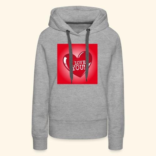 red heart i love you - Women's Premium Hoodie