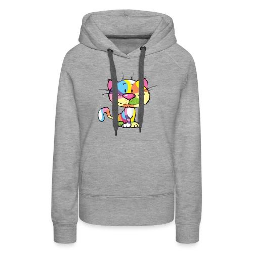 Cute Kitty Cartoon Colorful Pop Art Design - Women's Premium Hoodie