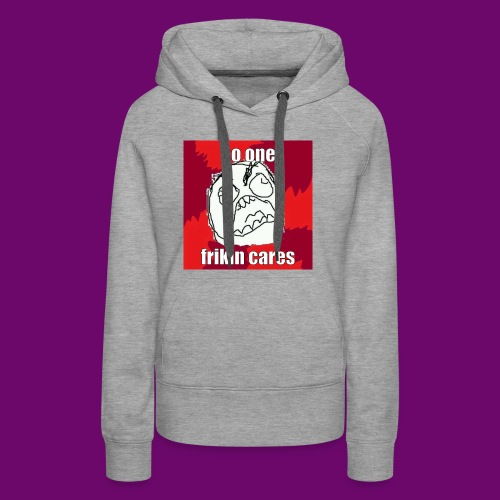 NO ONE CARES shirt with red and white in border. - Women's Premium Hoodie