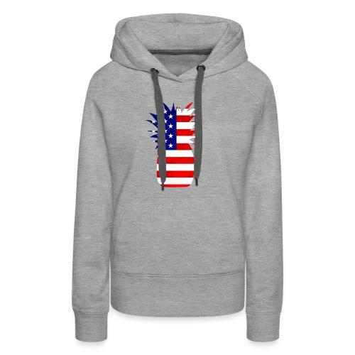Pineapple United States Flag - Women's Premium Hoodie