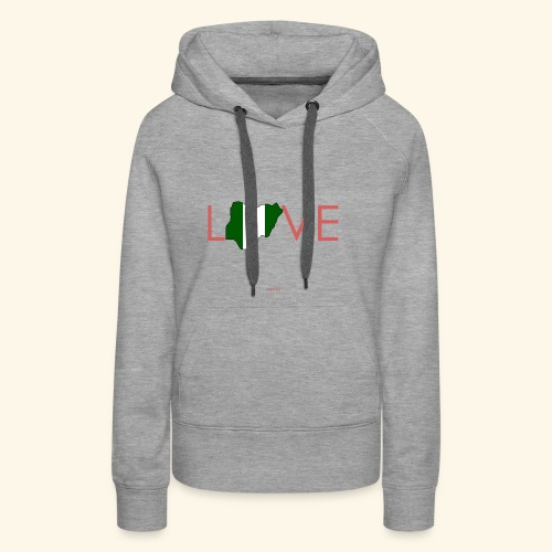 Love Nigeria Flag Map in Pink - Women's Premium Hoodie