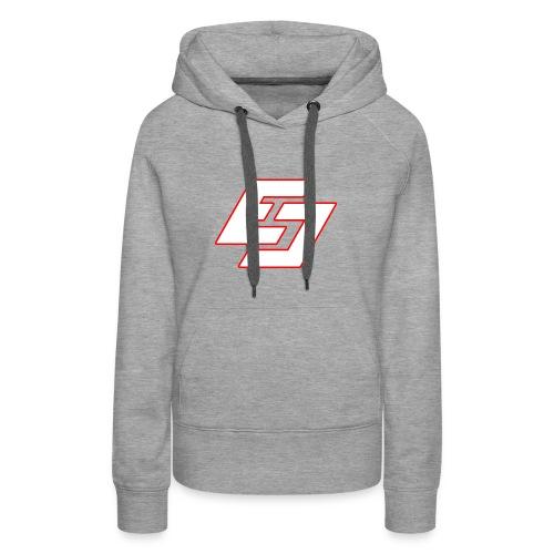 EavesDrop ED logo (White/ Red) - Women's Premium Hoodie