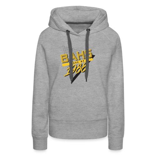Black and Yellow Logo for Gray Shirt - Women's Premium Hoodie