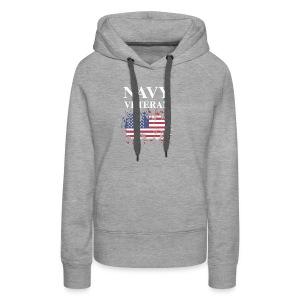 NAVY VETERAN American Flag - Women's Premium Hoodie