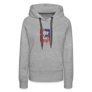 American Flag Skull 4th of July graphic Collection - Women's Premium Hoodie