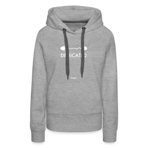 Dedicated Fitness Graphic Tee on Dark - Women's Premium Hoodie