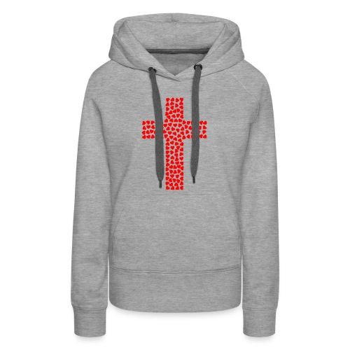 Cross with hearts - Women's Premium Hoodie