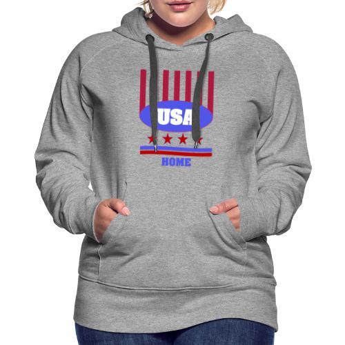 USA Flag T Shirt - Women's Premium Hoodie