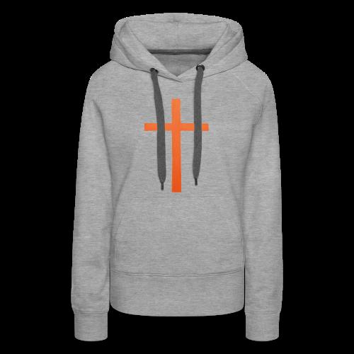 Orange Cross Jesus Rock Design AVE - Women's Premium Hoodie