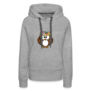 Owl With Flowers On Head T-Shirt - Women's Premium Hoodie