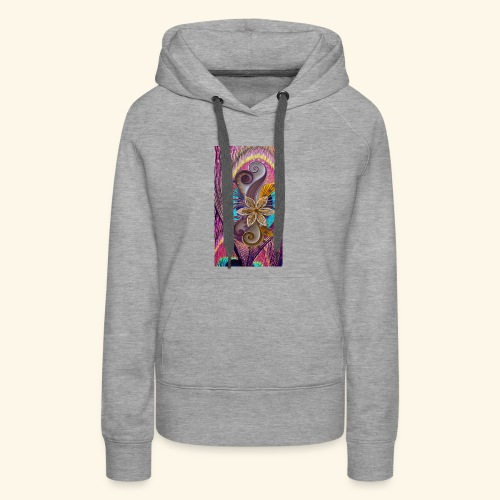 peacock feather and flower - Women's Premium Hoodie