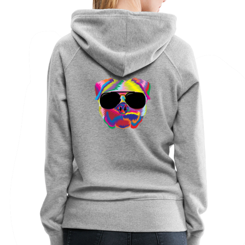 Psychedelic Pug Dog Face with Sunglasses - Women's Premium Hoodie