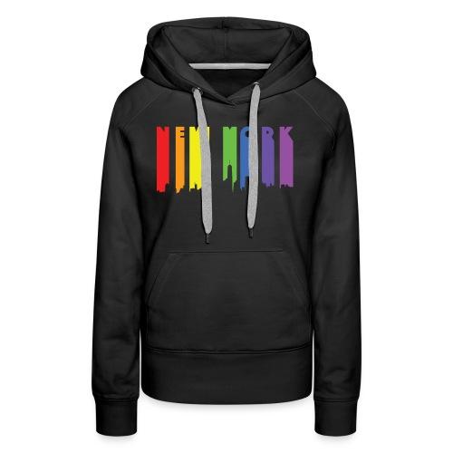 NY Paint drip effect design rainbow - Women's Premium Hoodie