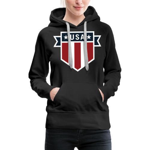 USA Pride Red White and Blue Patriotic Shield - Women's Premium Hoodie