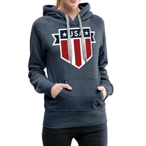 USA Pride Red White and Blue Patriotic Shield - Women's Premium Hoodie