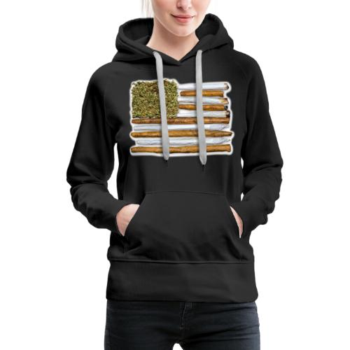 American Flag With Joint - Women's Premium Hoodie