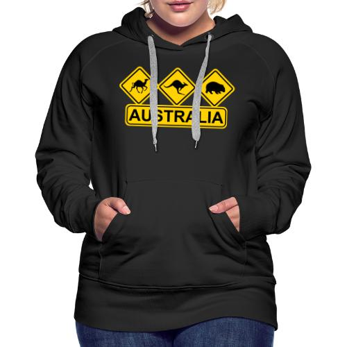 Australian 3 Animal Street Sign - Women's Premium Hoodie