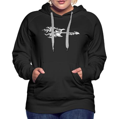 Electric Guitar Fire Illustration - Women's Premium Hoodie