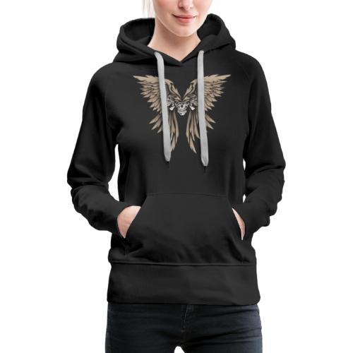 Skulls and Wings Illustration - Women's Premium Hoodie