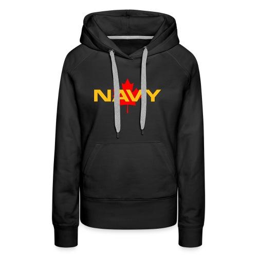 Navy Logo on Maple Leaf - Women's Premium Hoodie