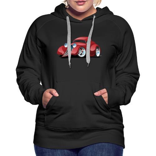 Red Hot Rod Restomod Custom Coupe Cartoon - Women's Premium Hoodie