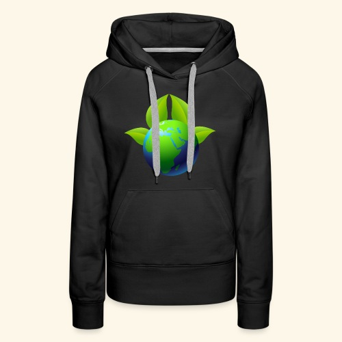 Earth with Leaves - Save the planet - Women's Premium Hoodie