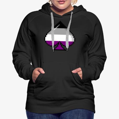 Asexual Pride 8Bit Pixel Ace of Spades - Women's Premium Hoodie